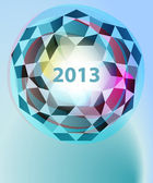 Dimensional cubic diamond blue new year card vector template — Vector de stock