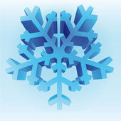 Isolated three dimensional blue snowflake vector template — Stock Vector