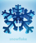 Three dimensional snowflake perspective blue winter card vector template — Stock Vector
