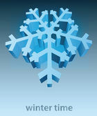 Three dimensional snowflake blue winter card vector template — Stock Vector