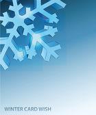 Plantilla de vector de copo de nieve esquina detalle azul invierno tarjeta — Vector de stock
