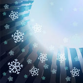 Abstract dark blue stripes with falling snow card vector template — Vecteur