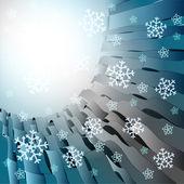 Abstraits bandes bleues avec des chutes de neige de carte modèle vector — Vecteur
