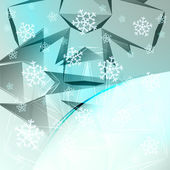 Abstract blue frosted shape with falling snow card vector template — Stock Vector