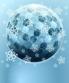 Blue winter hexagonal sphere with falling snow card vector template — Stock Vector
