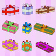 Colorful gift boxes series striped pattern background vector — Stock Vector