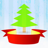 Red ribbon with green tree down on striped blue background — Stok Vektör