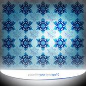Cool blue snowflakes motive vector template — Stock Vector