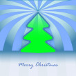 Round christmas tree design blue spotted background vector card - Stock Vector