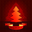 Round shape designed red brown christmas tree vector card — Stock Vector #14883777