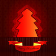 Round shape designed red brown christmas tree vector card - Stock Vector