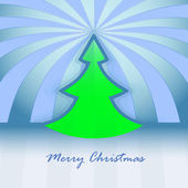 Round christmas tree design blue spotted background vector card — Stock Vector