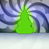 Cerchio di albero di natale blu forma ricurva agitare movente carta vettoriale — Vettoriale Stock