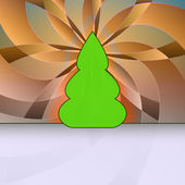Curved shape christmas tree orange floral geometry vector card motive — Vector de stock