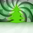 Sharp shape christmas tree on green circle swirl vector card — Stock Vector