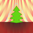 Sharp shape christmas tree on red yellow curtain vector card — Stock Vector