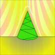 Conical shape designed  christmas tree on yellow curtain vector card — Stock Vector