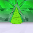Royalty-Free Stock Vector Image: Conical shape designed christmas tree on green floral motive card vector