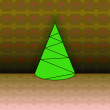 Royalty-Free Stock Vector Image: Conical shape christmas tree on brown linear pattern vector card
