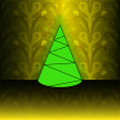 Conical shape christmas tree on yellow floral pattern vector card — Stock Vector