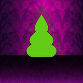 Gebogene form-weihnachtsbaum auf violet floral motiv-vektor-karte — Stockvektor
