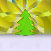 Sharp shape christmas tree on yellow floral motive vector card — Vecteur