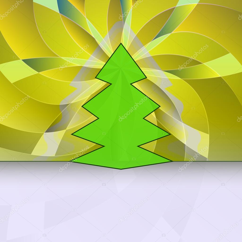 Sharp shape christmas tree on yellow floral motive vector card — Stock Vector #15420655