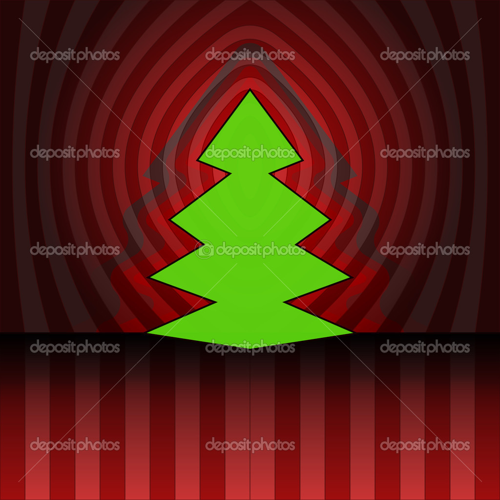 Sharp shape christmas tree on red center striped background vector card — Stock Vector #15420797