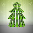 Royalty-Free Stock Vector Image: Green striped dimensional christmas tree shape with stars vector card