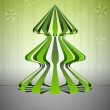 Royalty-Free Stock Vector Image: Striped dimensional green christmas tree shape with stars vector card