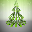 Striped green christmas tree shape with stars vector card — Stock Vector #15538141