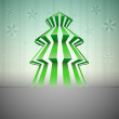Royalty-Free Stock Vector Image: Striped green christmas tree silhouette with stars vector card