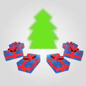 Izolované kubické představuje kolem zeleného stromu se pozadí — Stock vektor