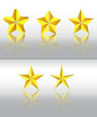 Three dimensional golden stars with reflection vector set — Stock Vector