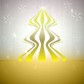 Striped round christmas tree on gold with stars vector card — Stock Vector