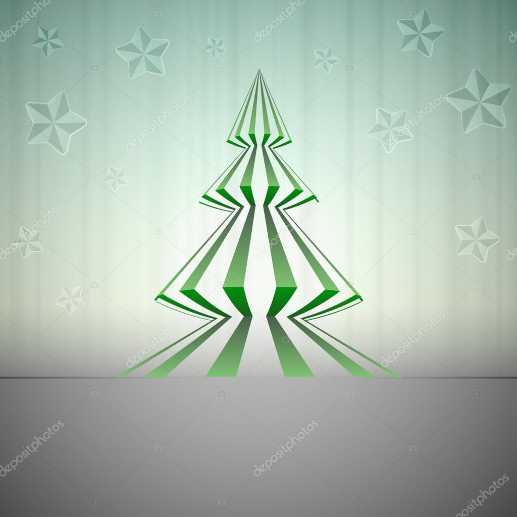 Striped green sharp christmas tree with stars vector card  Stock Vector #15538727