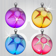Four colorful ball decoration pack with star motive — Stock Vector