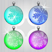 Four colorful ball decoration set with snow motive — Stock Vector
