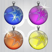 Four colorful ball decoration design with star motive — Stock Vector