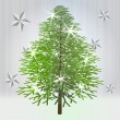 Classical green christmas tree with stars on grey background — Stock Vector