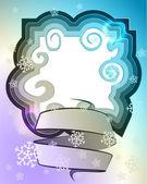 Marco mágico azul sombreado invierno con nieve y remolino — Vector de stock