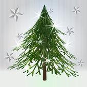 绿色古典的圣诞树与灰色的背景上的星星 — 图库矢量图片
