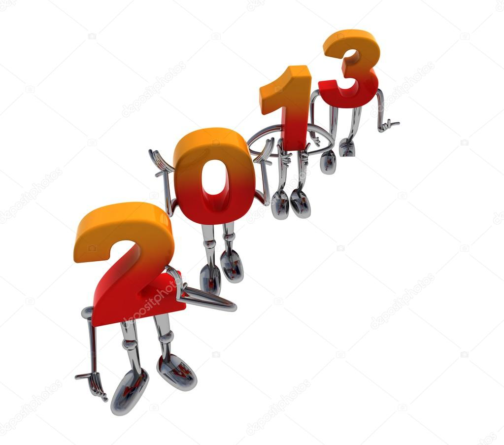 Red orange 2013 numbers as fancy figures standing diagonal — Stock Photo #16925615