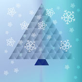 Christmas tree triangle concept on snowy background vector — Stockvector