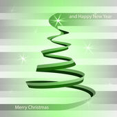 Christmas green alighted tree swirl on grey vector — Stock Vector