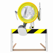 Euro coin robot jumping above hurdle front view illustration — Stock Photo
