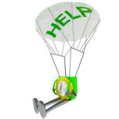 Euro munt robot parachutisthelp illustratie — Stockfoto