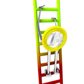 Euro coin robot climbs up on red green ladder illustration — Stock Photo