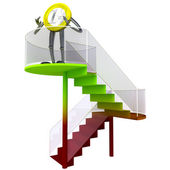 Euro coin robot standing at the top of stairs illustration — Stock Photo