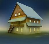 Old hut and window lighting at night — Stock Photo